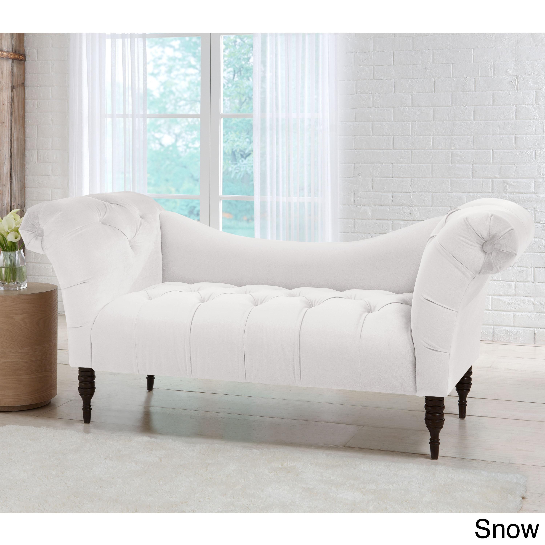 Skyline Furniture Mystere Velvet Fabric Chesterfield Loveseat (Option:  Mystere Snow)