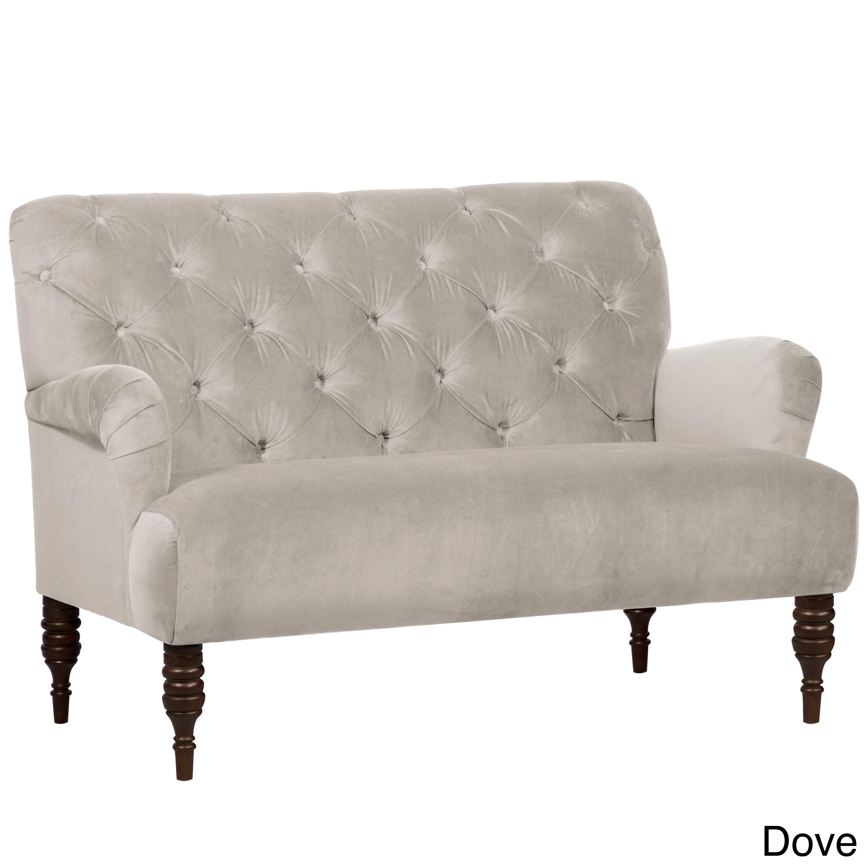 Skyline Regal Velvet Fabric Modern Loveseat (Regal Dove),...