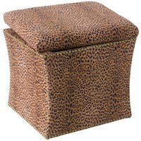 Skyline Furniture Cheetah Earth Fabric  Storage Ottoman in Cheetah Earth