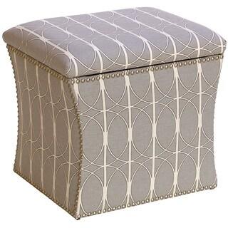 Skyline Furniture Menton Linen Fabric Storage Ottoman in Menton Linen