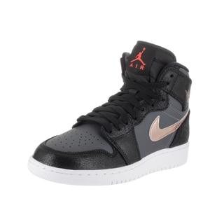 Nike Kids' Air Jordan 1 Retro High Bg Black Synthetic Leather Basketball Shoe