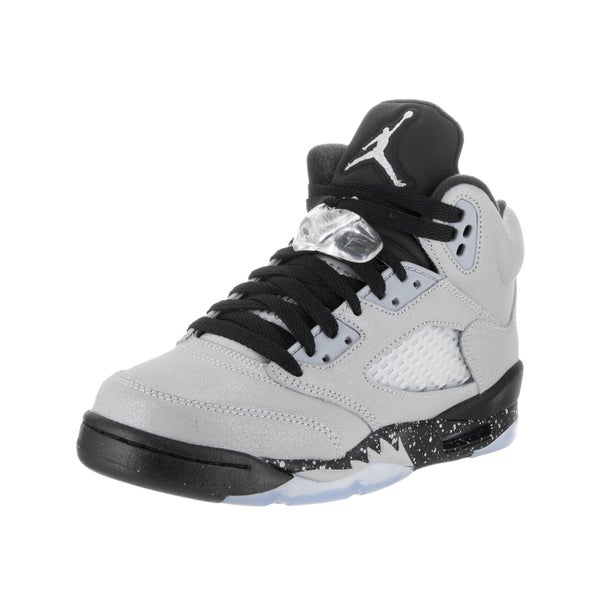 watch 569f3 6a37f Nike Kid  x27 s Air Jordan 5 Retro GG Grey White Synthetic Leather