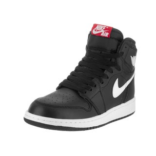 Nike Kids' Air Jordan 1 Retro High OG Black Leather Basketball Shoe