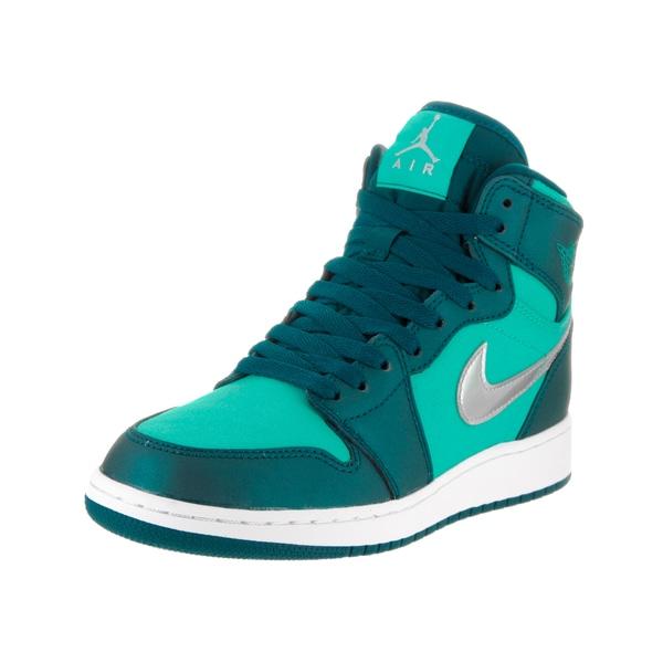 023abec4cdfd Nike Jordan Kids  x27  Air Jordan 1 Retro High Green Textile Basketball Shoe