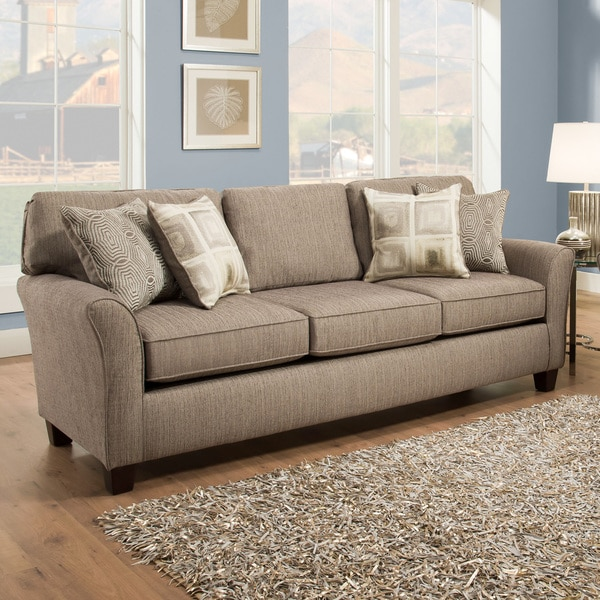 Shop Sofab Callie Pewter Three Seat Sofa Four Reversible Accent Pillows Overstock