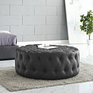 Modway Amour Black Vinyl and Wood Round Ottoman