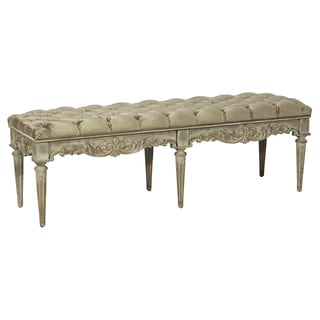 Tufted Velvet Tan Upholstered Bench with Antique Distressed Wood Base