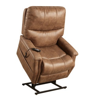Distressed Brown Faux Leather Power Dual Motor Lift Chair Recliner