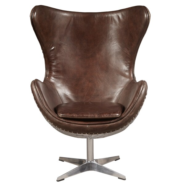 Bon Egg Shaped Distressed Antique Brown Leather Chair