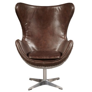 Egg-shaped Distressed Antique Brown Leather Chair