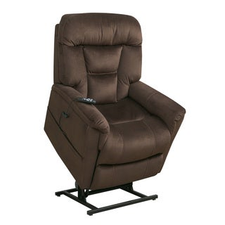 Edwin Chocolate Brown Fabric Power Dual Motor Lift Chair Recliner