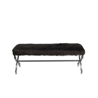 Privilege Dark Grey Faux-Fur Bench