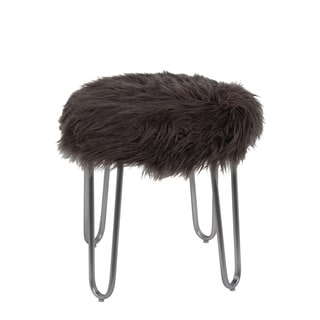 Privilege Round Grey Metal and Faux Fur Ottoman