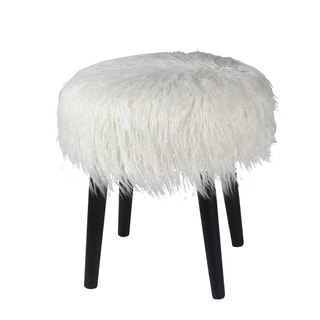 Privilege White Faux Fur Round Ottoman