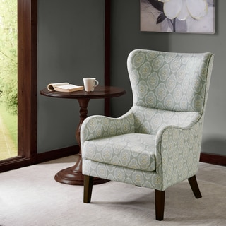 Madison Park Leda Blue Multi Swoop Wing Chair