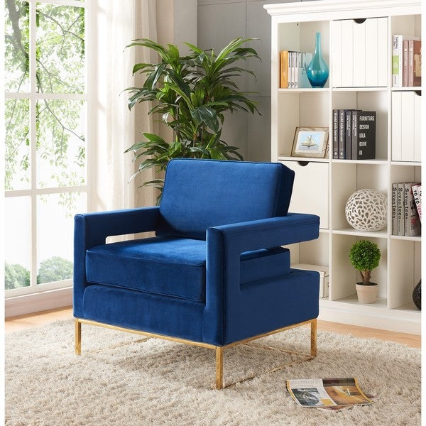 Shop Noah Navy Velvet Accent Chair Free Shipping Today