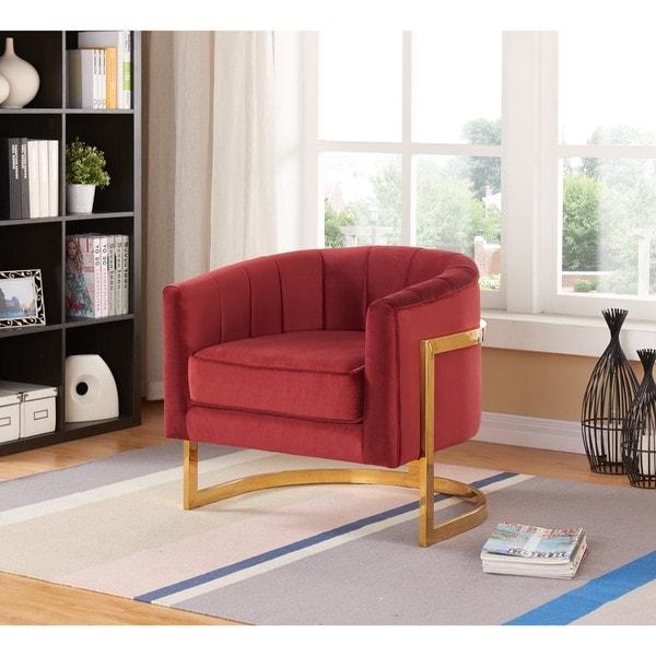 Shop Carter Burgundy Velvet Accent Chair Free Shipping