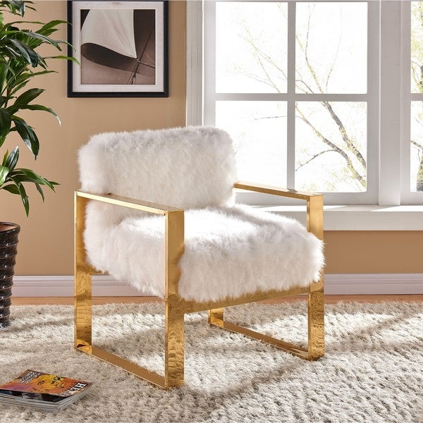 Shop Milo White Fur Accent Chair Free Shipping Today