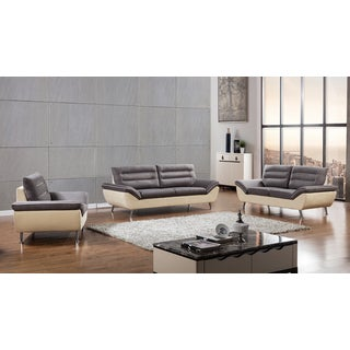Grey 2-tone Fabric Sofa Set