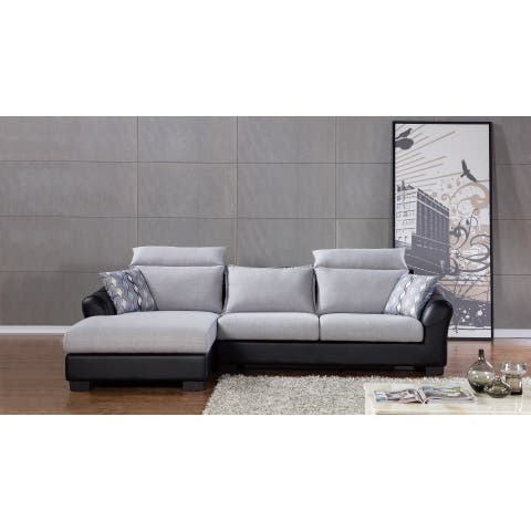 Light Grey 2-tone Fabric Sectional