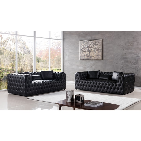 Shop Black Faux Leather Sofa Set - On Sale - Free Shipping Today ...