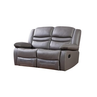 Dark Grey Faux Leather Recliner Loveseat