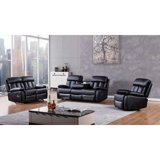 Black Faux Leather Recliner Sofa Set
