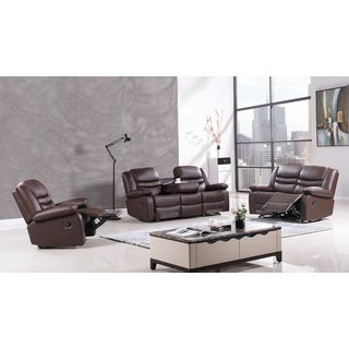 Dark Brown Faux Leather Recliner Sofa Set