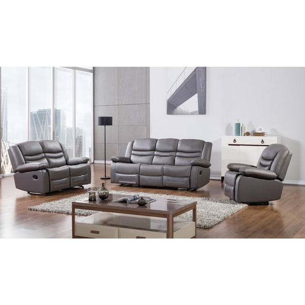 Shop Dark Grey Faux Leather Recliner Sofa Set Free Shipping Today