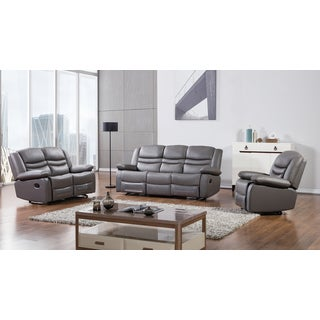 Dark Grey Faux Leather Recliner Sofa Set