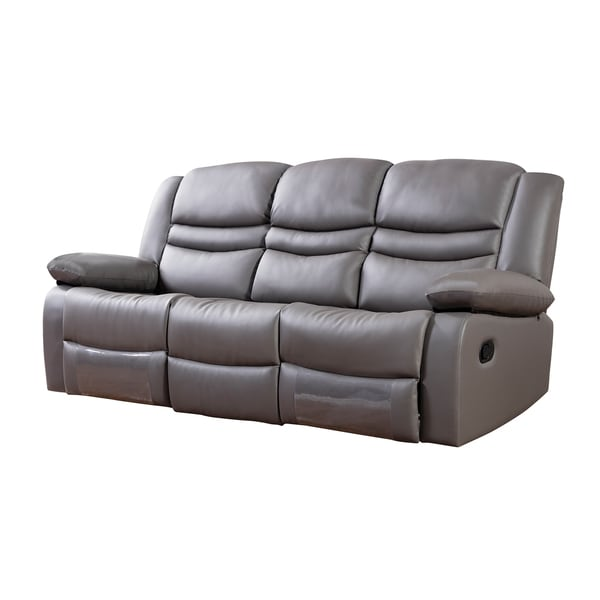 Shop Dark Grey Faux Leather Recliner Sofa Free Shipping Today