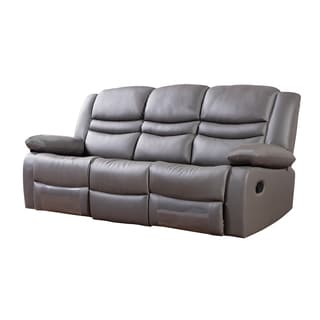 Dark Grey Faux Leather Recliner Sofa