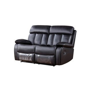 Black Faux Leather Recliner Loveseat