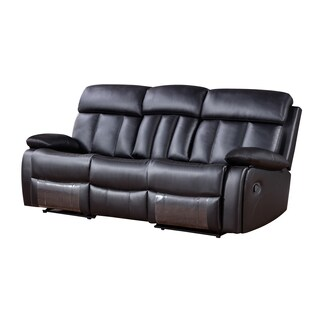 Black Faux Leather Recliner Sofa