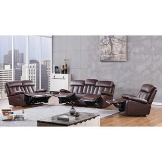 Dark Brown Faux Leather Recliner Sofa Set
