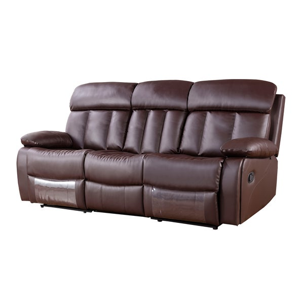 Shop Dark Brown Faux Leather Recliner Sofa Free Shipping Today