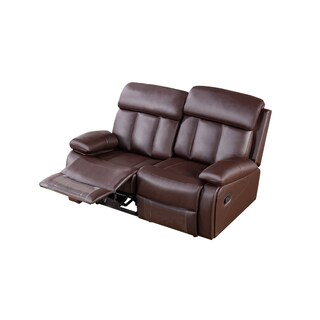 Dark Brown Faux Leather Recliner Loveseat