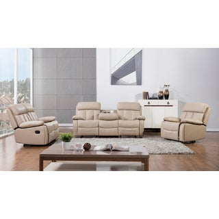 Tan Faux Leather Recliner Sofa Set