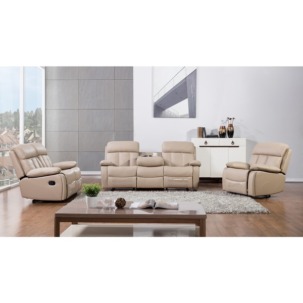 Recliner Sofa Sets: Shop Tan Faux Leather Recliner Sofa Set