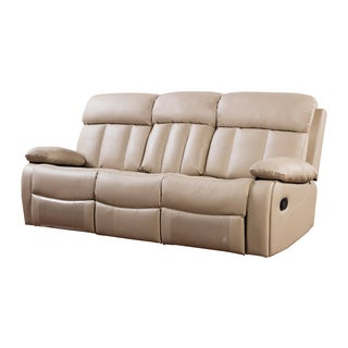 Tan Faux Leather Recliner Sofa
