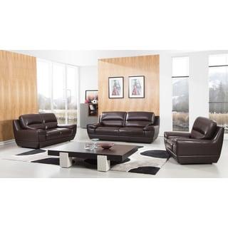 Dark Brown Italian Leather Sofa Set