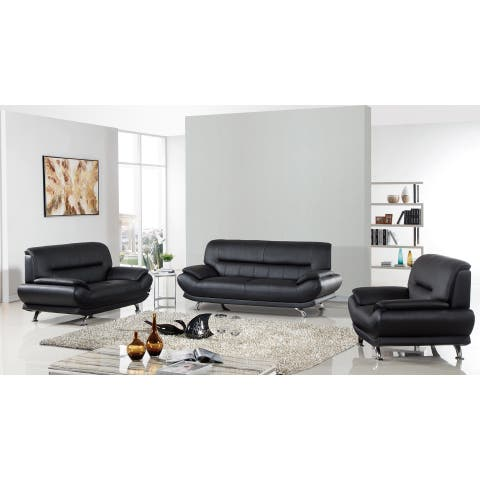 Black Genuine Leather Sofa Set