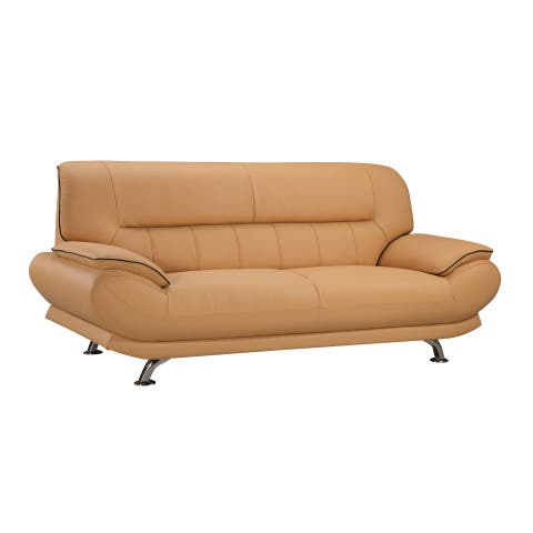 Yellow Genuine Leather Sofa