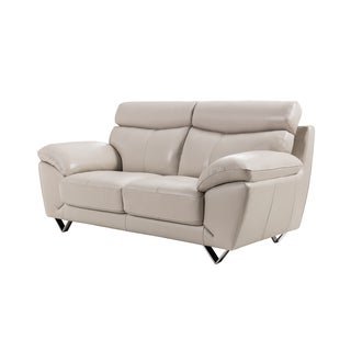 Light Grey Italian Leather Loveseat