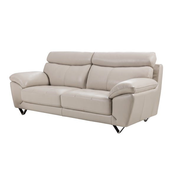 Shop Light Grey Italian Leather Sofa On Sale Free