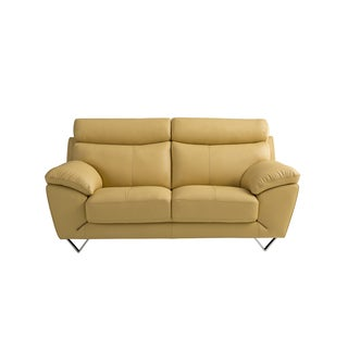 Yellow Italian Leather Loveseat