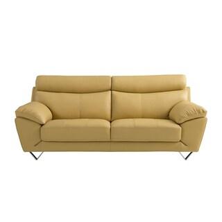 Yellow Italian Leather Sofa