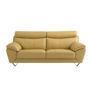 Yellow Italian Leather Sofa