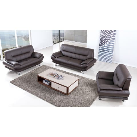 Dark Chocolate Genuine Leather Sofa Set