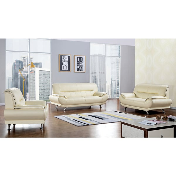 Shop Yellow Genuine Leather Sofa Set: Shop Ivory Genuine Leather Sofa Set